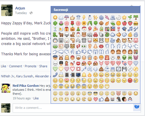 Facebook emojis or emoticons