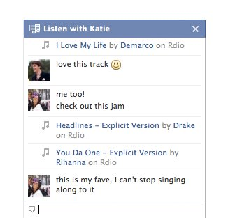 Music Chat with friends on Facebook