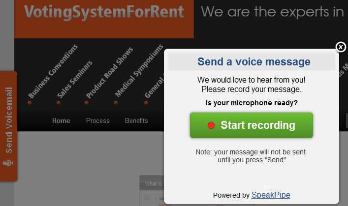 SpeakPipe Voicemail Contact form