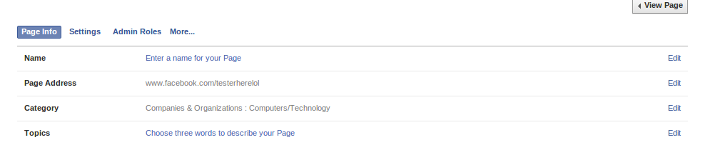 Create Facebook Page without Name