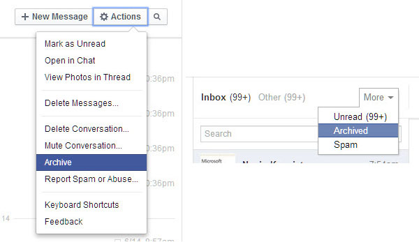 Archive Messages on Facebook