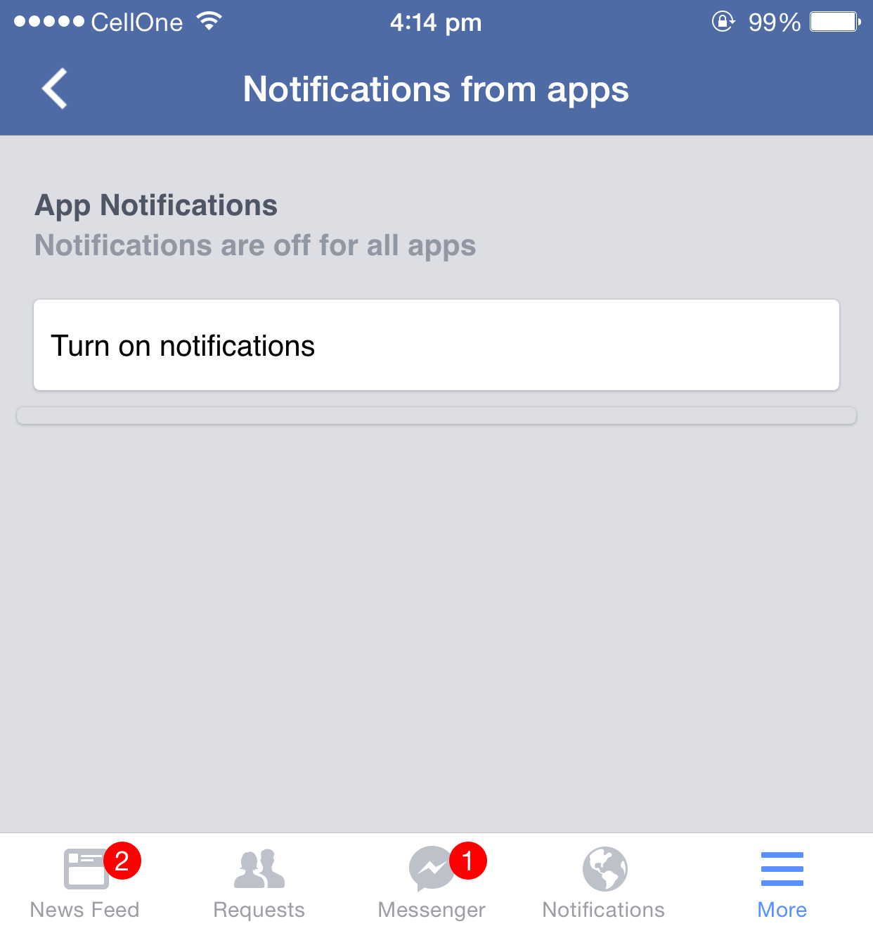 Turn off facebook account