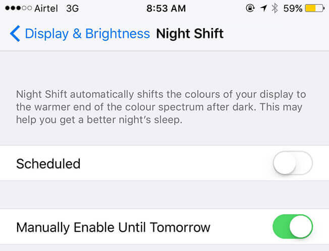 Night Shift in Low Power Mode