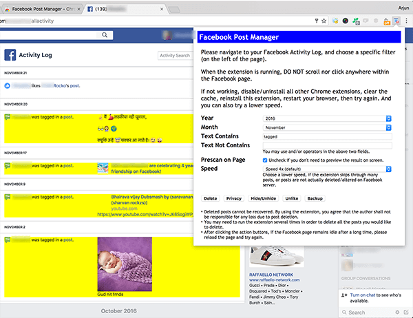 Facebook Post Manager Chrome Extension