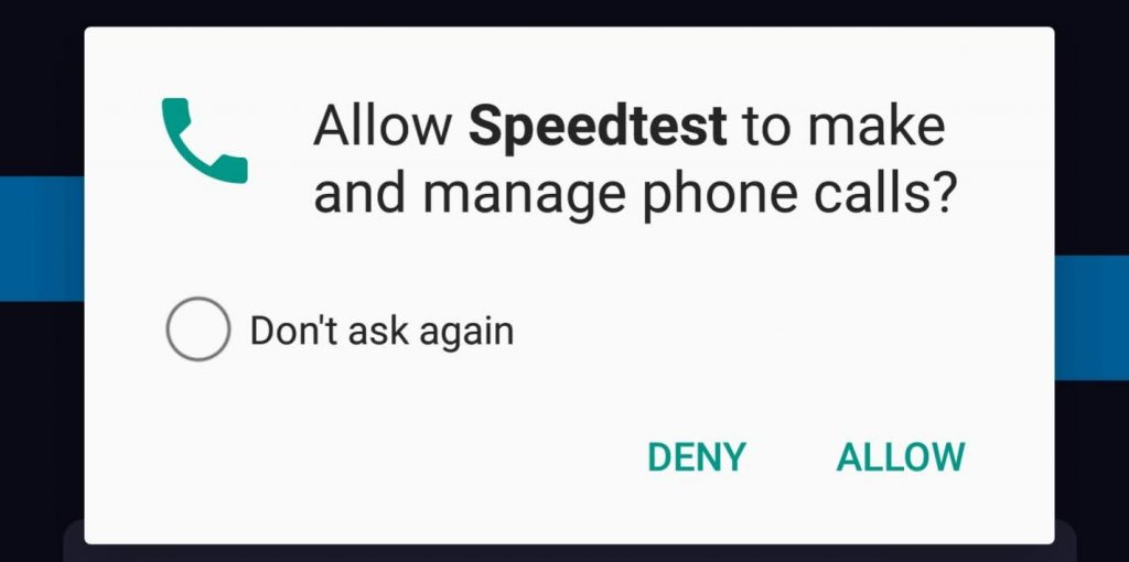 Call Permissions on Android Speedtest