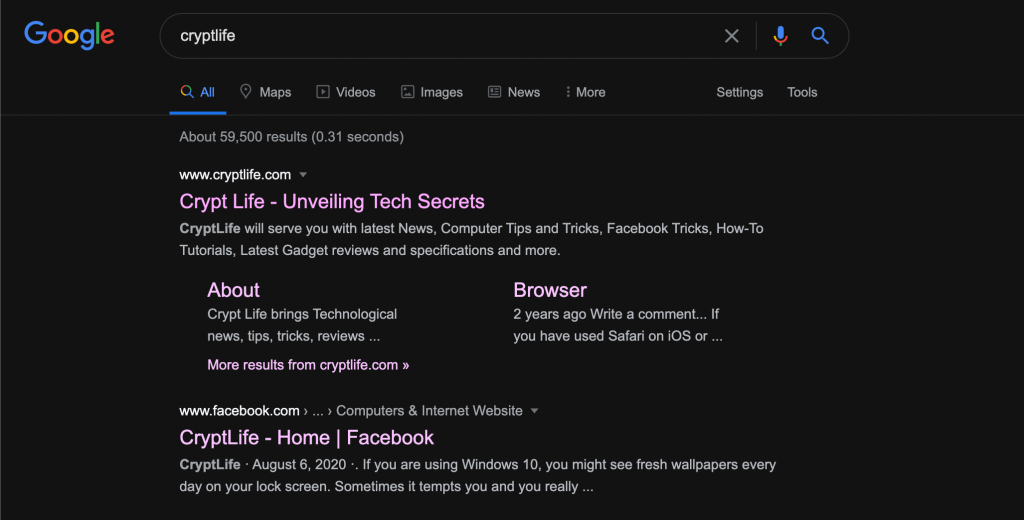 Enable dark mode on Google search results